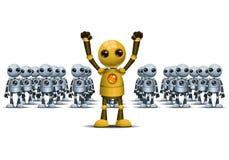 Poco robot è conquista differente sul gruppo Immagini Stock