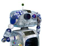 Poco robot della sporcizia in un fondo bianco royalty illustrazione gratis
