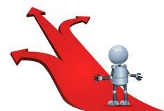 Poco robot que elige la flecha de la dirección stock de ilustración