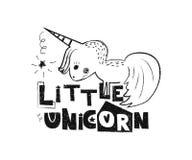 Poco unicornio Cartel dibujado mano de la tipografía del estilo Fotos de archivo libres de regalías
