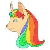 Poco unicornio con corte de pelo del arco iris Fotografía de archivo