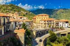 Poco villaggio Savoca, Sicilia Fotografia Stock Libera da Diritti