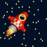 Poco vuelo rojo de la nave del cohete en el universo Fotos de archivo libres de regalías
