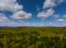 Pocono Mountains Pennsylvania landscape with green meadow and forest stock photos