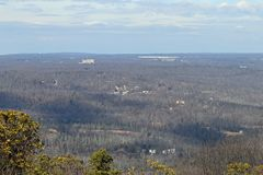 View from the Pocono Mountains. The Pocono Mountains with various buildings and workplaces in the hills Royalty Free Stock Images