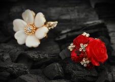 Pocos anillos de la joyería con los diamantes, las gemas y la perla en vagos negros del carbón Fotos de archivo