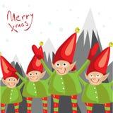 Pocos ayudantes de Papá Noel le desean una Feliz Navidad Tarjeta de felicitación ilustrada vector Foto de archivo libre de regalías