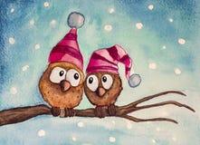 Pocos búhos de la nieve stock de ilustración