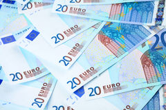 Pocos billetes de banco del euro 20 Foto de archivo libre de regalías