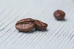 Pocos granos de café, estructura de grano, órganos internos, macrophotogr Foto de archivo