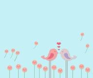 Pocos pájaros de los pares en flor del amor Fotografía de archivo