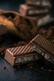 Pocos pedazos de chocolate con el relleno y el cacao cremosos Fotografía de archivo