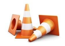 Pocos trafican conos en un fondo blanco 3d rinden los cilindros de image Foto de archivo