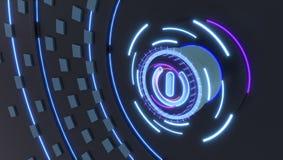 Początek ikona z futurystycznymi hologramami zaświeca, 3d ilustracja obrazy royalty free