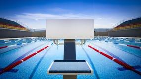 Początek pozycja w turniejowym pływackim basenie Zdjęcie Royalty Free