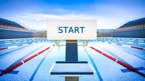 Początek pozycja w turniejowym pływackim basenie Fotografia Royalty Free