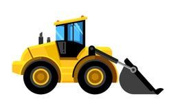 Początkowy ładowacz Buldożer konstrukci maszyn czerparki pracy pojazdów wektoru żółty samochód ilustracji