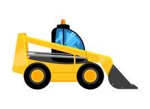 Początkowy koloru żółtego ładowacz Buduje maszyny czerparki dla praca pojazdów wektorowego samochodu odizolowywającego na bielu ilustracji