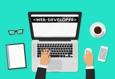 Początkowy rozwój, aplikacja sieciowa, strona internetowa tworzy pojęcie Przedsiębiorca budowlany pracuje przy laptopem Mieszkani Fotografia Royalty Free