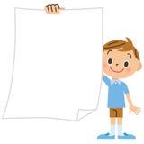 Początkowy uczeń, chłopiec, papier Zdjęcia Royalty Free
