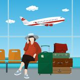 Poczekalnia przy lotniskiem z pasażerem Zdjęcia Royalty Free