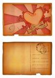 pocztówkę grunge serca Fotografia Royalty Free