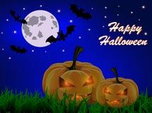 Pocztówka dla Halloween z banią, księżyc i nietoperzami, ilustracja wektor