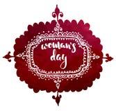 Pocztówka dla międzynarodowego kobiety ` s dnia, 8 marszu ręka rysujący nakreślenie na czerwonym akwareli tle Fotografia Stock