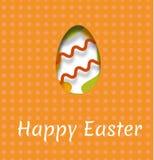 Pocztówka dla Wielkanocnego wakacje z wizerunkiem jajko i inskrypcja szczęśliwa wielkanoc Wektorowa ilustracja z efect o fotografia stock