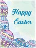 Pocztówka na malujących jajkach Fotografia Royalty Free