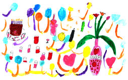 Pocztówka na urodziny z dziecka ` s rysunkami Zdjęcia Royalty Free