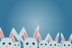 Pocztówka szczęśliwa wielkanoc, wiele króliki szczęśliwie Zdjęcie Royalty Free