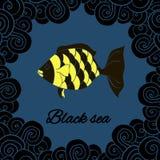 Pocztówka, sztandaru Czarny morze Obrazy Royalty Free