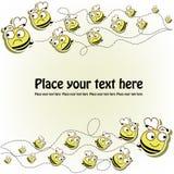 Pocztówka z śmieszne pszczoły Fotografia Stock