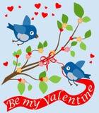 Pocztówka z śmiesznymi ptaszynami na Valentine's dniu wektor ilustracji