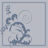 Pocztówka z abstrakcjonistycznymi błękitnymi kwiatami Zdjęcia Stock