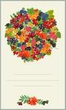 Pocztówka z bukietem lasu i domu jagody również zwrócić corel ilustracji wektora ilustracji