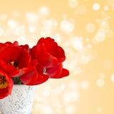 Pocztówka z eleganckimi kwiatami tulipanowymi Obrazy Royalty Free
