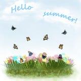 Pocztówka z kolorowymi motylami na kwiat łące royalty ilustracja