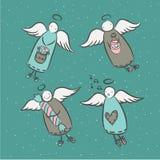 Pocztówka z kreskówka aniołami Obrazy Royalty Free