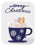 Pocztówka z odosobnionym przedmiotem filiżanka kawy karciani boże narodzenia rysująca ręka Wesoło bożych narodzeń i nowego roku t zdjęcie stock