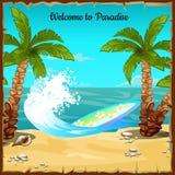 Pocztówka z plażą, ocean fala i surfboard, Fotografia Royalty Free