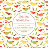 Pocztówka z ptakami, powitanie, wiosna nastrój Fotografia Royalty Free