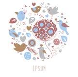 Pocztówka z ręka rysującymi kwiatami i ptakami Zdjęcia Royalty Free