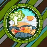 Pocztówka z ryba na pasiastym tle royalty ilustracja