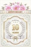 Pocztówka z 10th rocznicą Zdjęcie Stock