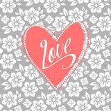 Pocztówka z turkusowym sercem na biały kwiecistym Fotografia Royalty Free
