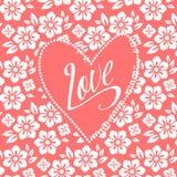 Pocztówka z turkusowym sercem na biały kwiecistym Zdjęcie Stock