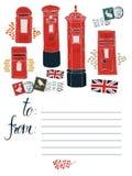 Pocztówka z urzędów pocztowych pudełkami ilustracji