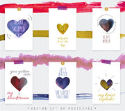 Pocztówki z pięknymi sercami Zdjęcie Stock